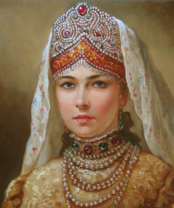 Девушка в русском наряде. Автор: Андрей Шишкин.
