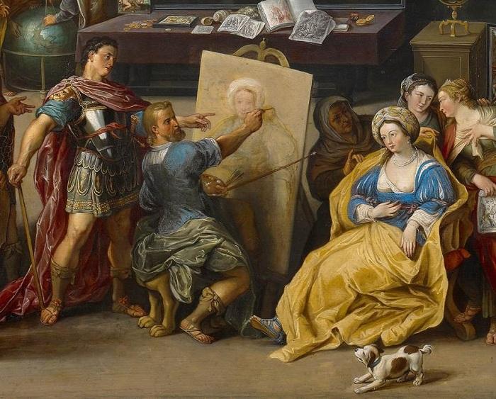 «Александр Македонский в мастерской Апеллеса». (ок.1630). Фрагмент. Автор: